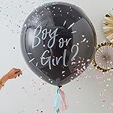 Globos con texto «Boy Or Girl», con relleno de confeti en color rosa y azul incluido / / 90cm / para baby showers / fiestas para bebés / nacimientos de niño o niña