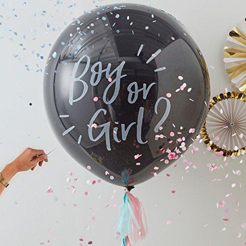 Riesen Luft-Ballons Boy or Girl inklusive Konfetti-Füllung in rosa & blau / / 90cm / Baby-Shower-Party/Baby-Party/Geburt Junge & Mädchen