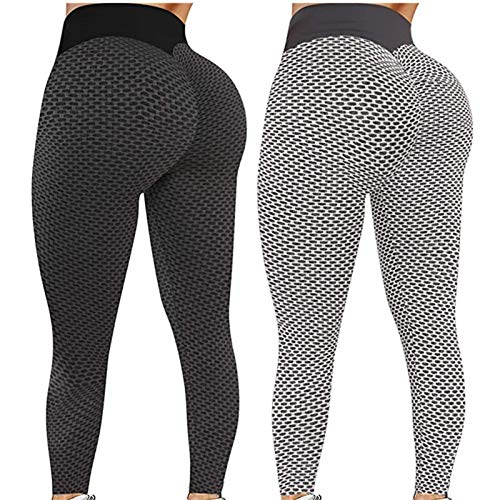 DAMUZHI 2pcs Tiktok Butt Leggings, High Waist Yoga Pants for Women Tummy Control Workout Sport Tights(Black+Grey, M)