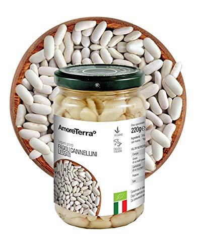 AmoreTerra (12 Pz.) Fagioli Cannellini lessati italiani pronti BIO, 300g, legumi biologici, lavorati dal fresco, laboratorio bio dedicato