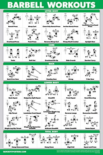 """QuickFit Barbell Workout Exercise Poster - (Laminated, 18"""" x 27"""")"""