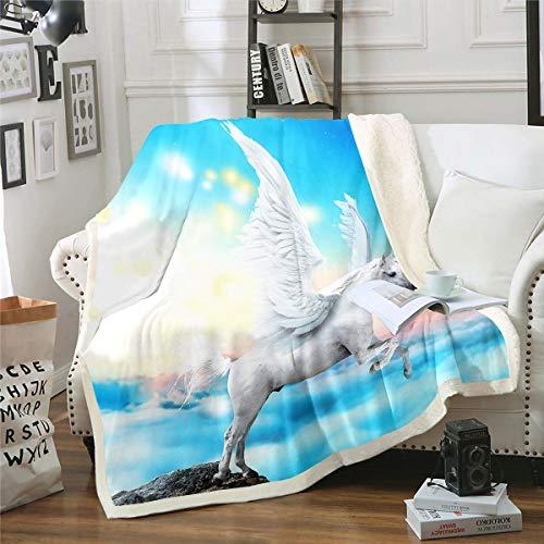 Manta de forro polar de unicornio para saltar, decoración de caballos, manta sherpa para niños mágica con ángulo de ala, manta de felpa, manta blanca para sofá cama, doble de 156 x 188 cm