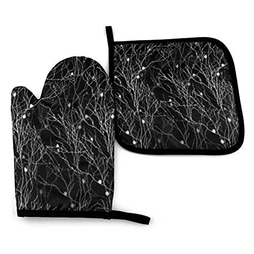 Manoplas de horno y soportes para ollas de color negro con patrón de bosque, guantes de cocina antideslizantes de poliéster reciclable para cocinar y asar