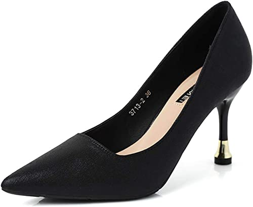 HGDR Femmes Les Les dames Noir Formel Chaton à Talons Chaussures Stiletto Travail Bureau Robe de soirée soirée de Bal Confortable Glisser sur des Talons,noir-EU37