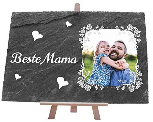 wandmotiv24 Schiefertafel mit Beste Mama und Foto in Blumenrahmen, 30x20 cm (BxH), Geburtstagsgeschenk, Geburtstag, Muttertag, Valentinstag M0064