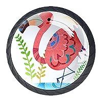 引き出しハンドルは装飾的なキャビネットのノブを引っ張る ドレッサー引き出しハンドル4個,フラミンゴ雲の葉