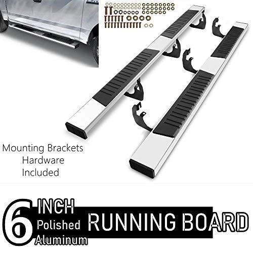 6 Inch Chrome Running Boards Custom Fit 2019-2021 Chevy Silverado/Gmc Sierra 1500 & 2020 Silverado/Sierra 2500/3500 Crew Cab Aluminum Polished Side Step Nerf bar (Excl. Silverado LD/Sierra Limited)