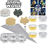 Star Wars Party Kit Hoth Character Cookie Cutter Cupcake Baking Tins, 1 Steel Pastry Piping Tip & Bag & Stickers