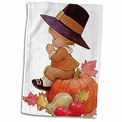 3dRose Vintage Pilgrim Boy on Pumpkin Towel