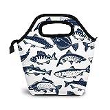 Bolsa Térmica Comida Bolsas De Almuerzo para Mujeres Hombres Niñas Niños Bolsa Isotérmica De Almuerzo Pescado Pescar Capturar Atún