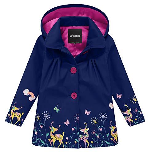 Wantdo Girl's and Boy's Hooded Rain Jacket Windproof Fleece Raincoat(Navy, 7-8Y)