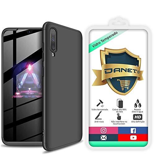 Kit Danet Capa Capinha Anti Impacto 360 Full Para Samsung Galaxy A70 e A70s Tela 6.7Polegadas - Case Acrílica Fosca Com Película De Vidro Temperado (Toda preta)
