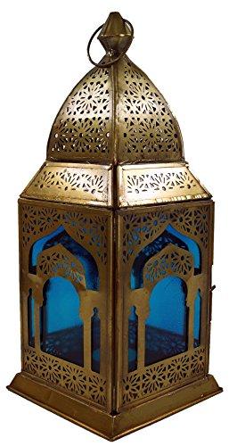 Guru-Shop Orientalische Metall/Glas Laterne in Marrokanischem Design, Windlicht, Türkis, Farbe: Türkis, 30x13x13 cm, Orientalische Laternen