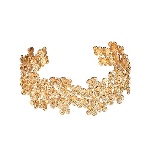 Focalook ゴールド バングル レディース ブランド アンティーク ブレスレット 18金 ハワイアンジュエリー 花 結婚式 アクセサリー