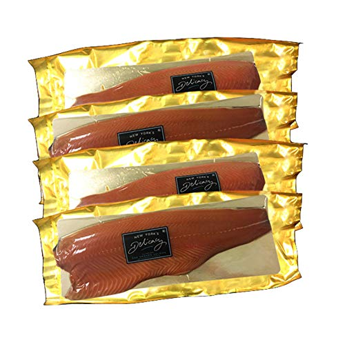 New York's Delicacy Smoked Salmon Nova - 10 Lb. (4 or 5 Fillets) - Most Awarded, Pre-Sliced, Fully Trimmed, Skin-Off - Kosher, Gluten Free, High in Omega 3 - Made from Fresh Never Frozen Premium Atlantic Salmon.