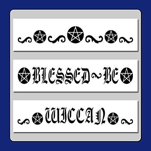 Set of 3 Wiccan Pentagram/Swirls Border Stencils Template Pentacle/Gothic/Witch/Star