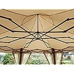 Garden Classics® HORWOOD GARDEN METAL FRAME POP UP FOLDING HEXAGONAL GAZEBO BEIGE FABRIC 3.6M X 3M WITH NET CURTAINS 5