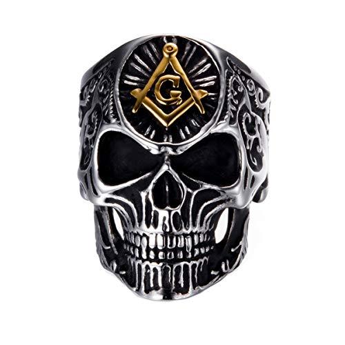 Gungneer Masonic Freemasonry Ring Skull Design Stainless Steel Men's Jewelry