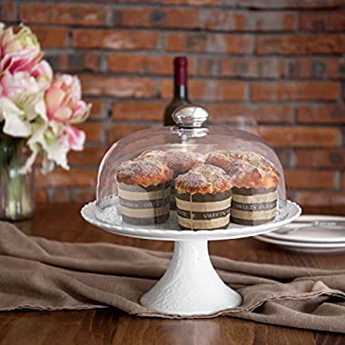 MyGift 11-inch Vintage White Cake Stand with Clear Glass Dome
