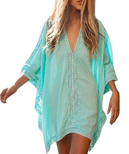 Huixin Fashion Damska sukienka plażowa, na bikini, na lato, elegancka, na co dzień, na plażę, z dekoltem w kształcie litery V, modna, luźna bluzka nietoperz, kolor biały, zielony, jeden rozmiar