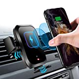 【Auto-Clamping】 Wireless Car Charger Mount with Touch Sensor Automatic Phone Clamp 10W Qi Fast Charging Car Air Vent Holder Compatible with iPhone12/Pro/Xs/Max/XR, Samsung S10/S9/S8/Note10/9 and More