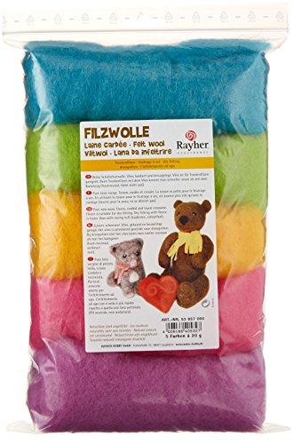 Rayher Hobby 53657000 Reine Schurwolle, Vlies, 5 Farben à 20 g, Sommermix, easy going