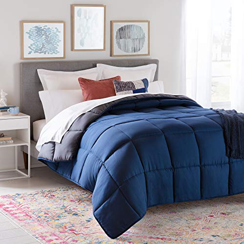 Linenspa All-Season Reversible Down Alternative Quilted Comforter - Corner Duvet Tabs - Hypoallergenic - Plush Microfiber Fill - Box Stitched - Machine Washable - Navy/Graphite - King