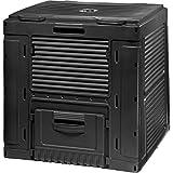 Curver Outdoor E-Composter Compostador de Plástico para Jardín 470L Rápido Construcción Duradera Estable Plegable 79 x 79 x 79 cm Negro