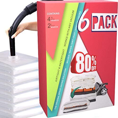 HELLOCAM vakuumbeutel für Kleidung Bettdecken Aufbewahrungsbeutel Wiederverwendbar (6er Set) 4 Groß 80 * 60cm+ 2 XXL 100 * 80cm schützt Ihre Kleidung Spart bis 80% Platz mit Staubsauger