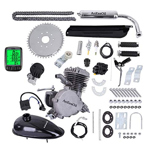 AnEssOil 80cc 2-Stroke Bicycle Engine Kit Single Cylinder Gas Motorized Bike Motor Kit Bike Conversion Set with Speedoemter for 24', 26' and 28' Bikes
