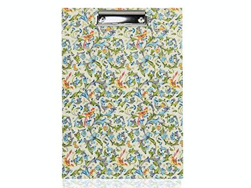 Klemmbrett für DIN A4, Notizbrett handgemacht, buntes Florentiner Papier Vögel, Klemm-Mechanik 10 cm, schönes Geschenk zum Geburtstag