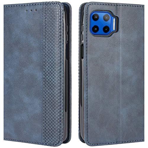 HualuBro Handyhülle für Motorola Moto G 5G Plus Hülle, Retro Leder Stoßfest Klapphülle Schutzhülle Handytasche LederHülle Flip Hülle Cover für Motorola Moto G 5G Plus Tasche, Blau