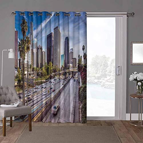 YUAZHOQI Cortina térmica para puerta corredera de viaje, centro de Los Ángeles EE.UU., 152 x 200 cm de ancho x 100 cm de largo persiana vertical para sala de estar (1 panel)