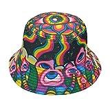 Psychedelic Mushroom Trippy Hippie Alien Bucket Hat, Fisherman Hats Summer Outdoor Packable Cap Travel Beach Sun Hat