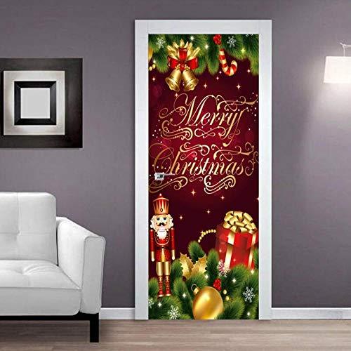 Papel Pintado Puerta Autoadhesivo Foto Cartel 3D Regalo De Navidad 77cmx200cm Puerta Papel Tapiz-Etiqueta De Puerta-Mural De Papel De Pared De Puerta, Impermeable Vinilo