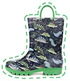 Outee Boys Rain Boots Kids Toddler Lightweight Waterproof Shoes Printed Dinosaur Blue Green Rubber Adorable Print Cute with Easy On Handles (Size 11,Green)