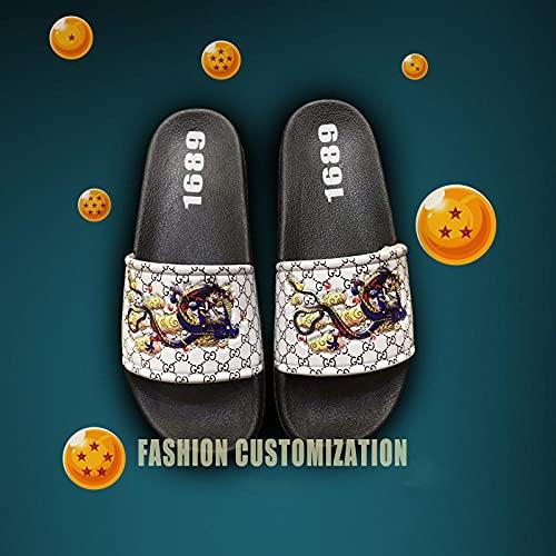 Antideslizantes Zapatilla Pareja de Dibujos Animados al Aire Libre Sandalias,Hombre Mujer Baño Ducha Zapatillas de baño Playa Piscina Zapatos Negro EU36