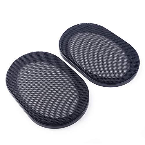 beler 2pcs cercle de voiture de grille de maille d'acier de couverture audio de voiture noire 4 * 6 pouces