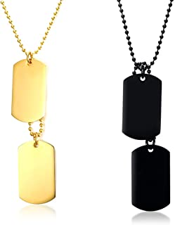 YIKOXI Gold Black Silver Hue 2PCS Stainless Steel Pendant Necklace Army Name Double Dog Tag