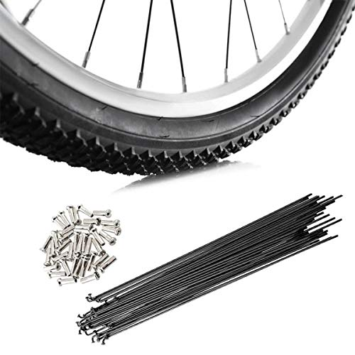 JieGuanG Bicycle Spokes, 249mm Stainless Steel Cycling Spokes with Nipples Use for Mountain Bike (36 Pcs)
