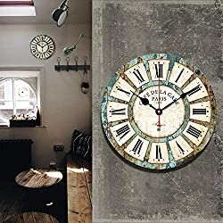 redcolourful hss 12` Vintage Roman Numeral Design France Paris Rusted Metal Look French Country Tuscan Style Paris Wood Wall Clock Household Items