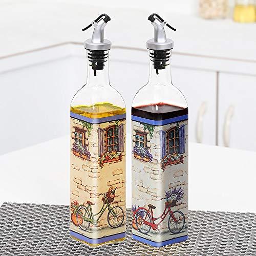 öL Essig Flasche Set, OlivenöL-Spender, 500ml Edelstahl Lebensmittelglas ÖL Essig Flasche/Spender Flasche Zum Kochen, Grillen, Salate, Braten, Backen,Free-Time