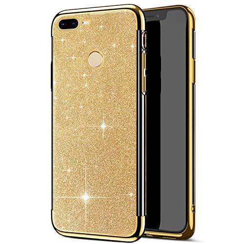 Compatible avec Huawei Honor 9 Lite Coque,Placage Paillettes Brillante Bling Glitter de Luxeu Strass Coque Silicone TPU Souple Ultra-mince Antichoc Bumper Housse Etui Protection Huawei Honor 9 Lite,Or