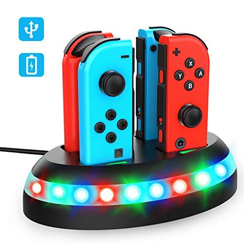 T98 Ladestation für Nintendo Switch, 4 in 1 Joy-Con Controller Ladestation Mit Typ C Ladekabel, UFO Pferderennen Lampe Ladegerät für Nintendo Switch Joy-Con