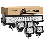 Nilight - ZH003 20Inch 126W Spot Flood Combo Led Light Bar 4PCS 4Inch 18W Spot LED Pods Fog Lights for Jeep Wrangler Boat Truck Tractor Trailer Off-Road,2 years Warranty