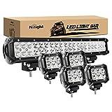 Nilight 50.8cm 126W Spot Flood Combo LED barra de luz 4piezas 4inch, 18W Spot LED VAINAS luces antiniebla para Jeep Wrangler, barco, camión Tractor remolque todoterreno, 2años de...