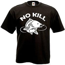 T-Shirt Noir No Kill Carpe – Pêche Sportive Catch & Release Rivière Poisson