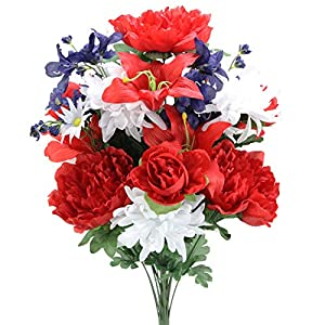 Admired By Nature 24 Stem Peony, Lily, Mum Mixed Bush Artificial Full Blooming Flowers, Medium, 2. ABN_RD/WT/BL_Daisy
