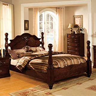 247SHOPATHOME Poster bed, Queen, Walnut