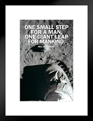 One Small Step for a Man One Giant Leap for Mankind NASA Apollo 11 1969 Moon Footprint Lunar Landing Astronaut Famous Motivational Inspirational Quote Matted Framed Art Wall Decor 20x26